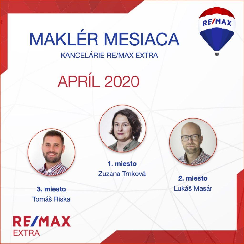 - Najúspešnejší maklér za april 2020 - reallitná kancelária Trenčín a Žilina 1